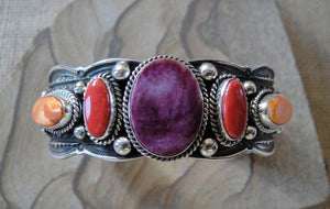 Purple Spiny Oyster Sterling Silver Bracelet
