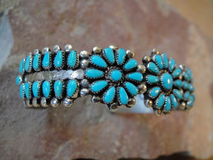 Zuni Turquoise Cluster Sterling Silver Bracelet - Side View