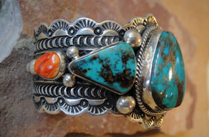 Turquoise Sterling Silver Bracelet - Side View