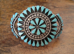 Zuni Teardrop Cluster Turquoise Cuff Bracelet - Front View