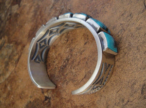 Seven Stone Turquoise Cuff Bracelet - Side View
