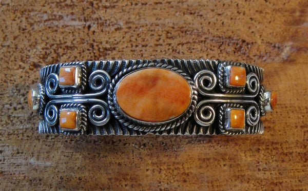 Sterling Silver Spiny Oyster Scroll Bracelet