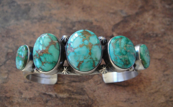 Five Stone Turquoise Sterling Silver Cuff Bracelet