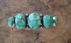 Five Stone Turquoise Sterling Silver Cuff Bracelet - Front View