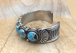 Seven Stone Turquoise Sterling Silver Cuff Bracelet - Side View