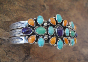 Multi Stone Cluster Sterling Silver Cuff Bracelet - Side View
