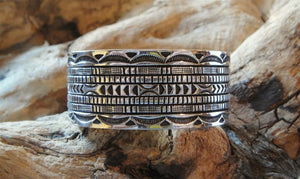 Sterling Silver Wide Cuff Bracelet - Side View
