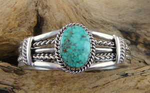 Sterling Silver Kingman Turquoise Cuff Bracelet - Front View