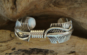 Sterling Silver Feather Design Cuff Bracelet