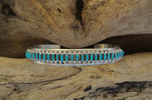 Zuni Sterling Silver & Turquoise Cuff Bracelet
