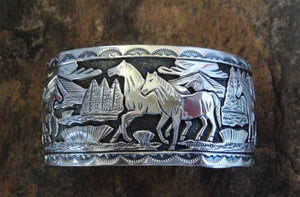 Sterling Silver Horse Story Cuff Bracelet - Front View