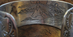 Sterling Silver Horse Story Cuff Bracelet - Inside/Back View