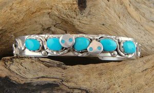 Sterling Silver & Turquoise Zuni Cuff Bracelet