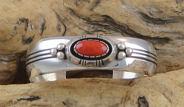 Coral & Sterling Silver Cuff Bracelet