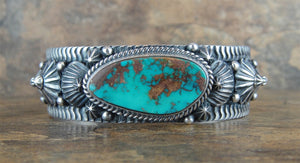 Pilot Mountain Turquoise Sterling Silver Cuff Bracelet - Front View