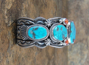 Kingman Turquoise & Red Coral Sterling Silver Cuff Bracelet - Side View