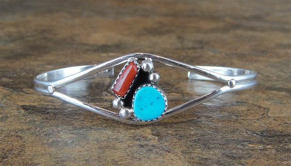 Petite Red Coral & Turquoise Sterling Silver Cuff Bracelet