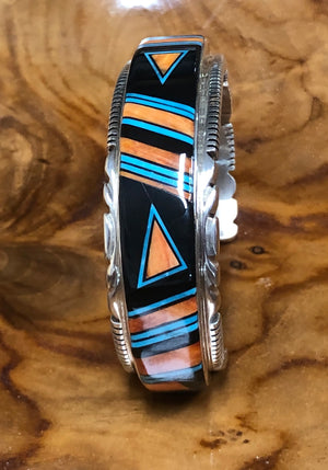 Black & Orange Inlay Cuff Bracelet