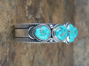 5 Stone Turquoise Sterling Silver Cuff Bracelet - Side View