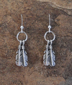 Petite Sterling Silver Double Feather Earrings