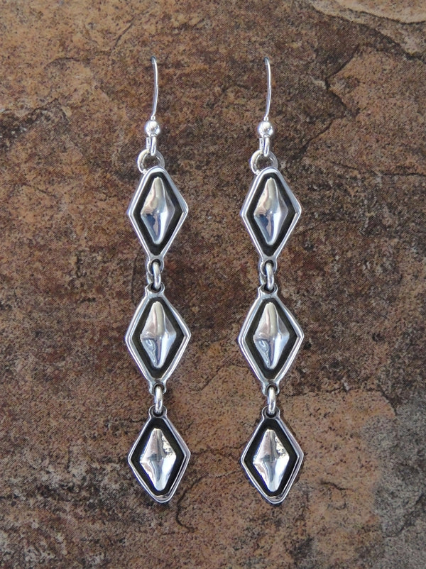 Sterling Silver Diamond Pattern Earrings