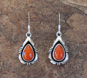 Sterling Silver Coral Tear Drop Earrings