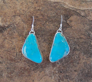 Turquoise Triangle Sterling Silver Earrings