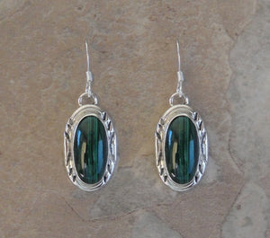 Sterling Silver with Malachite Earrings