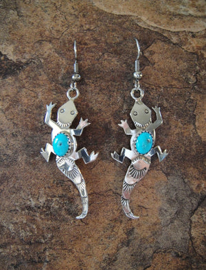 Turquoise Lizard Earrings