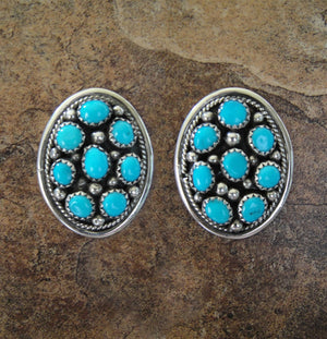 Turquoise Cluster Post Earrings
