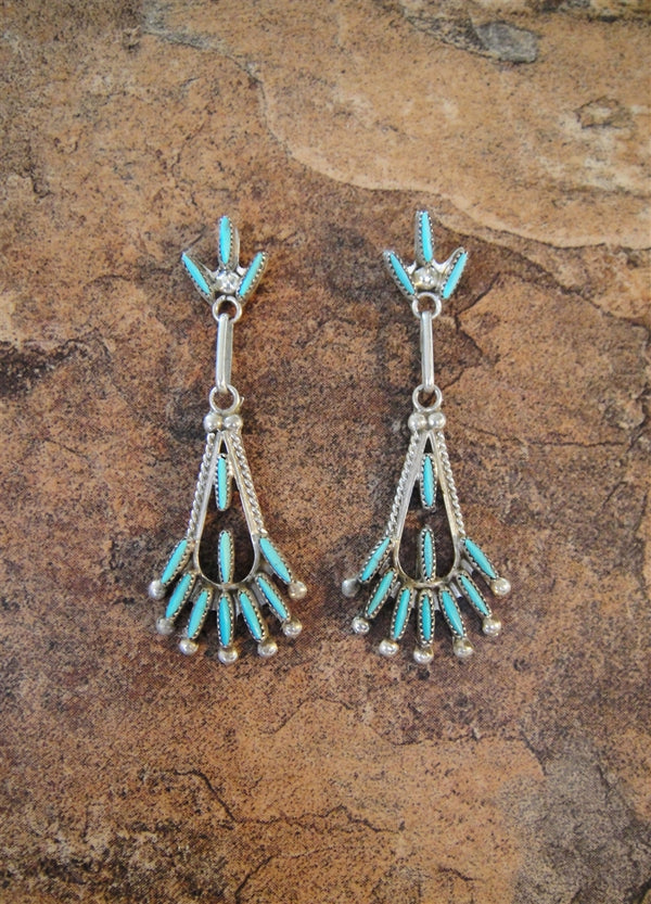 Zuni Turquoise Petit-Point Post Earrings