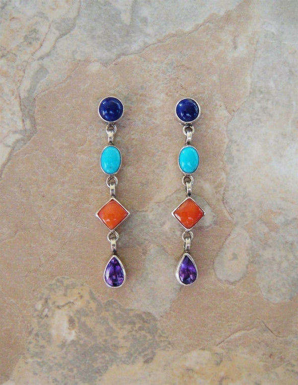 Multi Stone Dangle Post Earrings