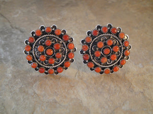 Red Coral Cluster Clip Earrings