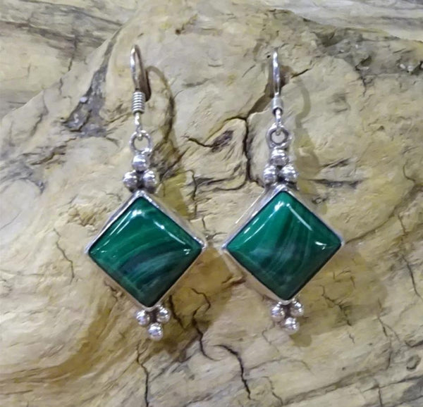 Malachite Sterling Silver French Hook Earrings