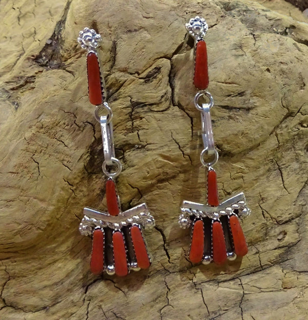 Zuni Red Coral Post Earrings