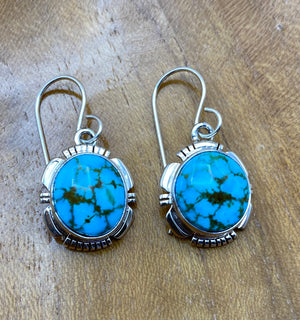 Red Web Kingman Turquoise Earrings