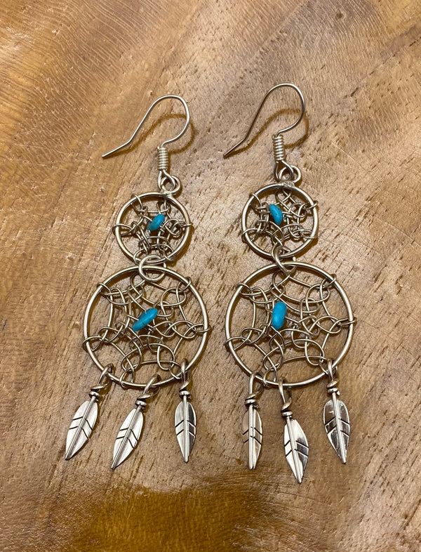 Double Dream Catcher Sterling Silver Earrings