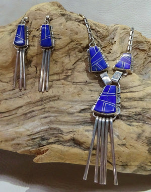 Lapis Inlay Sterling Silver Necklace Set
