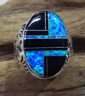 Men's Jet and Blue Opal Inlay Ring