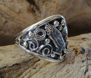 Men's Sterling Silver Eagle Ring - Side View