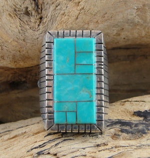 Men's Inlaid Turquoise Sterling Silver Ring