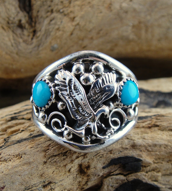 Men's Turquoise & Sterling Silver Eagle Ring