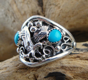Men's Turquoise & Sterling Silver Eagle Ring - Side View