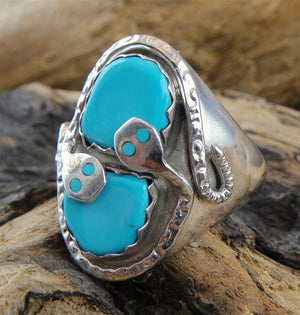 Zuni Turquoise & Sterling Silver Ring - Side View