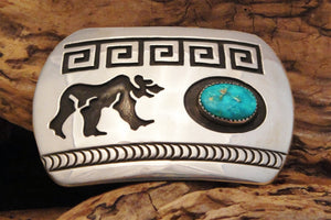 Men's Turquoise & Sterling Silver Bear Belt Buckle