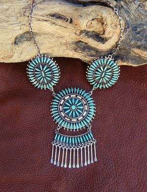 Zuni Sterling Silver Turquoise Necklace