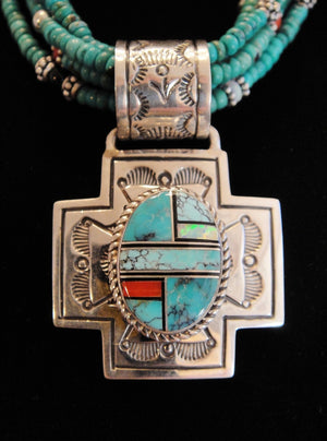 Turquoise Necklace With Inlay Cross Pendant - Close Up