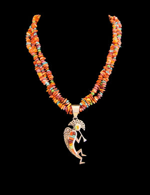 Multi Stone Necklace With Kokopelli Inlay Pendant