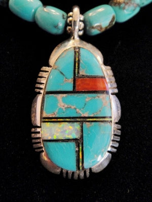 Turquoise Necklace With Inlay Pendant - Close Up
