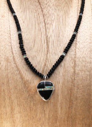 Onyx Necklace With Jet And Opal Inlay Pendant